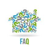 House of Question Marks Logo. Concept for a Frequently Ask Questions related to Real Estate Stock Images