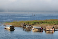 House on raft in the lake. Sangklaburi in Thailand Stock Photography