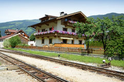 House at the railway line Royalty Free Stock Image
