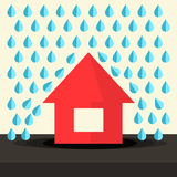 House in Rain Flat Design Royalty Free Stock Photos