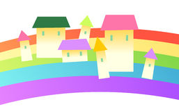House and rainbow Stock Photography
