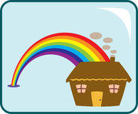 House and Rainbow Royalty Free Stock Photos