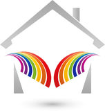 House and rainbow in color, painter and real estate logo. House and rainbow in color, colored, painter and real estate logo Royalty Free Stock Image