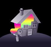 House and rainbow paint Royalty Free Stock Photos