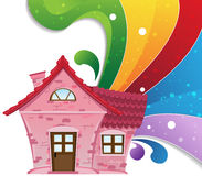 House and rainbow Stock Photo