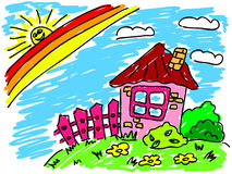 House, rainbow and sun. Colorful hand drawn illustration Stock Photography