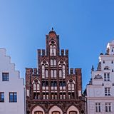 House Ratzow and other old houses in the old town of Rostock, Germany.  stock photo