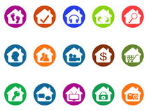 House real estate buttons icons set. Isolated house real estate buttons icons set from white background Royalty Free Stock Image