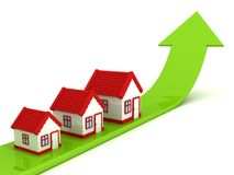 House real estate chart with green growing arrow. 3d Stock Photo