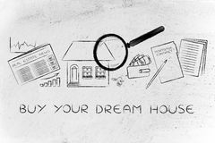 House, real estate data and contract, buy your dream house. Buy your dream house: magnifying glass analyzing a house, with sector newspaper, stats, keys, wallet stock photo