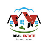 House or real estate logo. Logo of group private homes or real estate. Space for text. Vector illustration Stock Photos