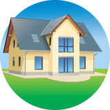 House - Real estates - residential building. Modern prefabricated family house,  illustration Stock Photography