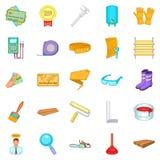 House reconstruction icons set, cartoon style Stock Photos