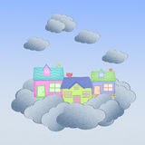House from recycle paper on a cloud Stock Image