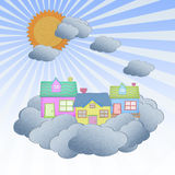 House from recycle paper on a cloud Stock Photos