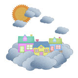 House from recycle paper on a cloud Royalty Free Stock Image
