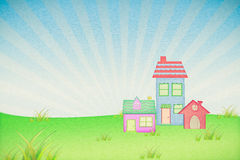 house from recycle paper with grass field Stock Images