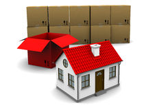 House of red cardboard box Royalty Free Stock Photo