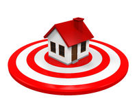 House and Red Darts Target. Isolated on white background. 3D render Stock Photos