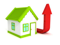 House red growing arrow, real estate price rising Royalty Free Stock Image