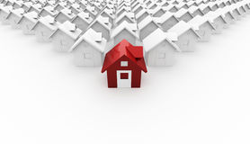 House red icon in front on white. Background stock illustration