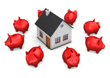 House Red Piggy Banks Stock Photo