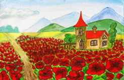 House with red poppies Stock Photos