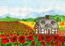 House with red poppies, painting Royalty Free Stock Photo