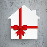 House Red Ribbon Concrete Stock Images