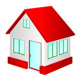 House with red roof. A small house on a white background. House with red roof stock illustration