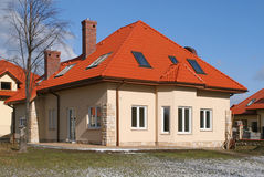 House with red roof royalty free stock image
