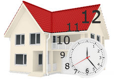 The house with red roof and clock numbers flying Royalty Free Stock Photos