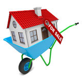 House with red roof in hand-barrow Stock Photography