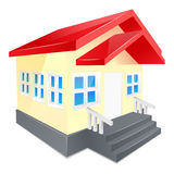 House with red roof. Isolated on a white Royalty Free Stock Photo