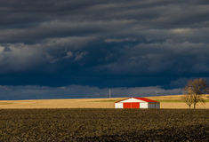 The barn, red roof, storm, clouds, farmland, Nature, tree