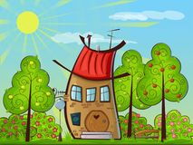 House with a red roof. Next to apple trees in summer vector illustration