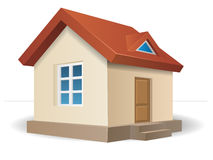 House with red roof. Residential house beige with a red roof, with a window and a door. Vector illustration of a building in perspective view vector illustration