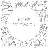 House remodel horizontal banner with building tools Line art. House remodel horizontal banner. Element for house repair, building or renovation company Royalty Free Stock Photo