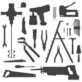 House remodel instruments silhouette set. Vector various house repair tools dark grey silhouette set Royalty Free Stock Photo
