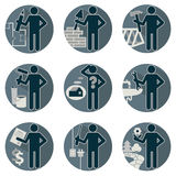 House remodel service worker set. Flat round symbolic icons in blue colors Workers repair team Architect designer, insurers foreman, plumber, electrician, mason Royalty Free Stock Images