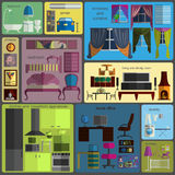 House remodeling infographic. Set flat interior elements for cre Stock Images