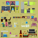 House remodeling infographic. Set interior elements for creating Stock Photography