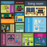 House remodeling infographic. Set interior elements for creating Royalty Free Stock Photography