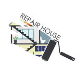 House remodeling infographic on white background Royalty Free Stock Photo