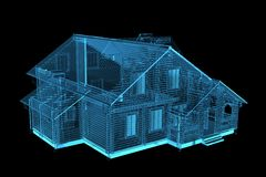 House rendered xray blue transparent. House 3D rendered xray blue transparent Stock Photography