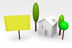 House rendering with billboard Royalty Free Stock Image