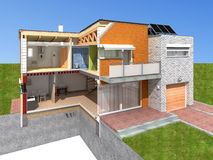House rendering in section Royalty Free Stock Image