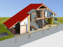 House rendering in section. Detailed rendering of a traditional house in the section Royalty Free Stock Photos