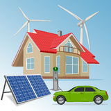 House with renewable energy sources, vector illustration. Vector illustration of house with renewable energy sources stock image