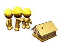 House renovation. Icon figures project team to renovate a house Royalty Free Stock Photo